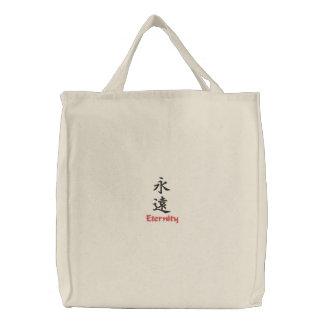 Kanji-Charakter für Ewigkeit auf einer Bestickte Tragetasche