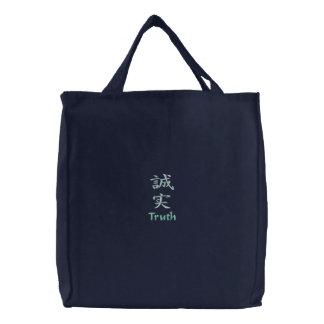 Kanji-Charakter für Wahrheit auf einer Bestickte Tragetasche