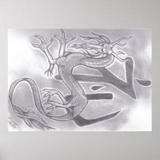 Kanji für Ehre mit einem Drachen Poster