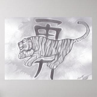 Kanji für Mut mit einem Tiger Poster
