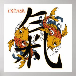 Kanji Koi Fisch-Energie Poster