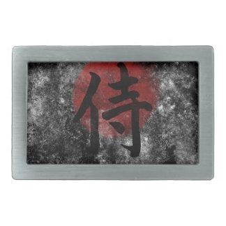 Kanji-SamuraiGrunge 2 Rechteckige Gürtelschnalle