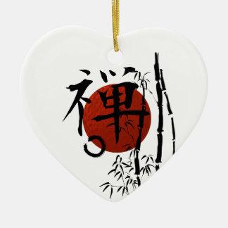 KanjiZen mit Enso und Bambus Keramik Ornament