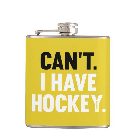 Kann ich Hockey-lustiges Entschuldigungs-Gelb Flachmann