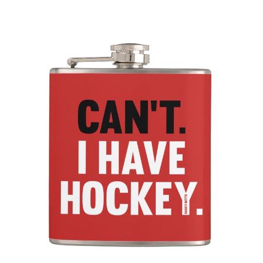 Kann ich Hockey-lustiges Entschuldigungs-Rot nicht Flachmann