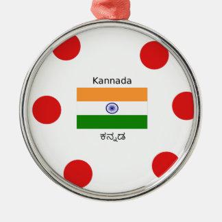 Kannada-Sprache und indischer Flaggen-Entwurf Silbernes Ornament