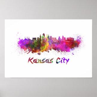 Kansas City skyline im Watercolor Poster