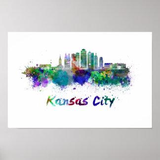 Kansas City V2 skyline im Watercolor Poster