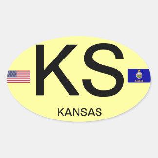 Kansas* Euro-ähnlicher ovaler Aufkleber