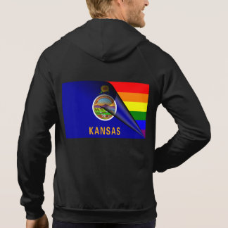 Kansas-Flaggen-Gay Pride-Regenbogen Hoodie