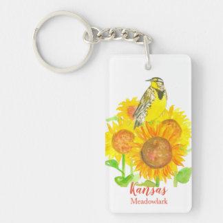 Kansas-Sonnenblume-Western Meadowlark Schlüsselanhänger