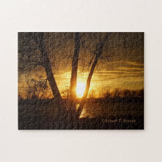 Kansas-Sonnenuntergang-Reflexion PUZZLESPIEL Puzzle