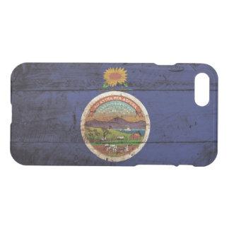 Kansas-Staats-Flagge auf altem hölzernem Korn iPhone 8/7 Hülle