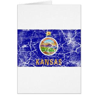 Kansas-Staats-Flagge Vintag Karte