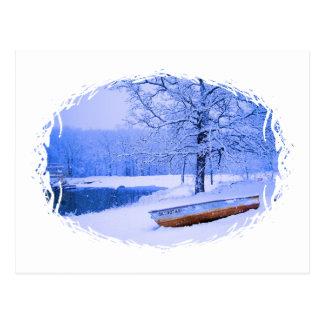 Kanu im Schnee Postkarte