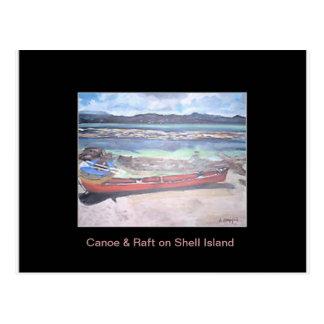 Kanu u. Floss auf Muschel-Insel-Postkarte Postkarte