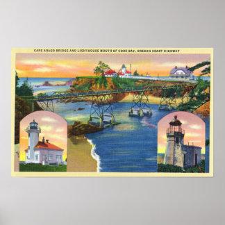 Kap Arago Brücken-und Leuchtturm-Mund Poster