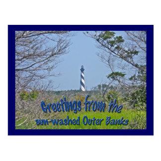 Kap Hatteras Leuchtturm von der Sumpfgebiet-Reihe Postkarte