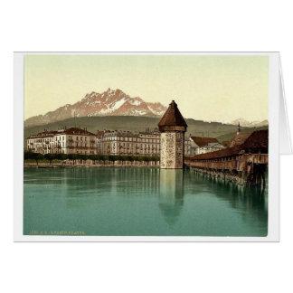 Kapellen-Brücke und Ansicht von Pilatus, Luzerne, Karte