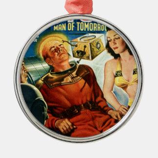Kapitän Future und der Gehirn-Kasten Rundes Silberfarbenes Ornament