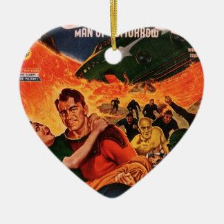 Kapitän Future und der Vulkan Keramik Herz-Ornament
