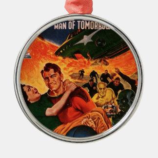 Kapitän Future und der Vulkan Rundes Silberfarbenes Ornament
