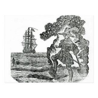 Kapitän Kidd Burying His Bible, Illustration Postkarte