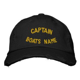 Kapitän mit Ihrem kundenspezifischen Bootsnamen Bestickte Baseballcaps
