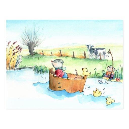 Kapitän Mouse auf Boots-Postkarte
