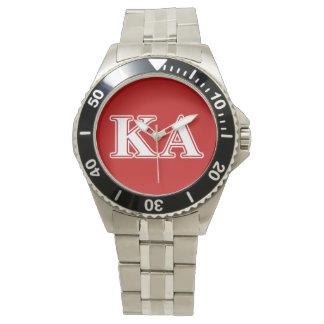 Kappa-Alphaauftrags-weiße und rote Buchstaben Armbanduhr