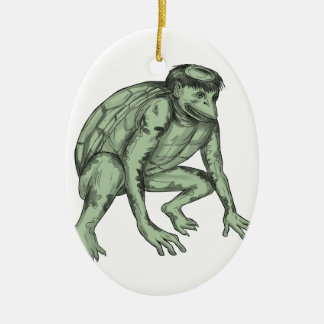 Kappa-Monster-duckende Tätowierung Keramik Ornament