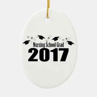 Kappen des Krankenpflege-Schulabsolvent-2017 und Ovales Keramik Ornament