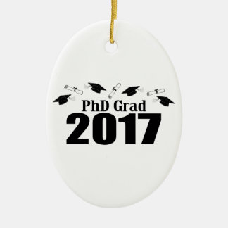 Kappen PhD-Absolvent-2017 und Diplome (Schwarzes) Ovales Keramik Ornament