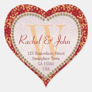 Karamell-Rost-Muster-mit Monogramm Herz-Hochzeit Herz-Aufkleber