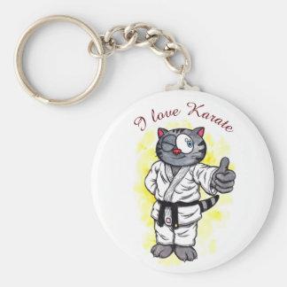 Karate-Kätzchen stehend und Lächeln Schlüsselanhänger
