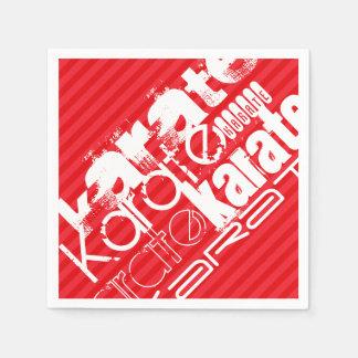 Karate; Scharlachrot Rot-Streifen- Papierservietten