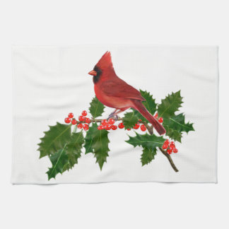 Kardinal auf einem Stechpalmen-Blatt Handtuch