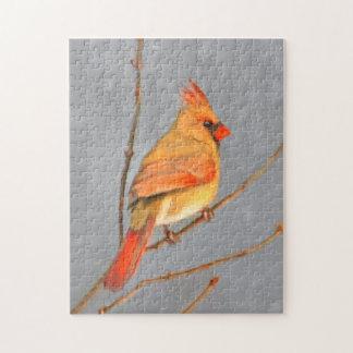 Kardinal auf Niederlassungs-Malerei - Puzzle