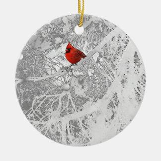 Kardinal im Winter Rundes Keramik Ornament