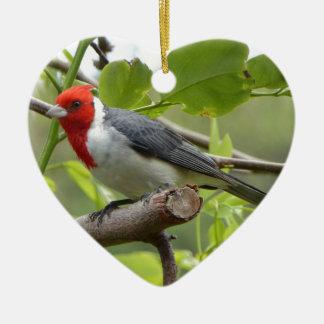 Kardinal mit rotem Schopf Keramik Ornament