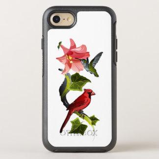 Kardinal und Kolibri mit rosa Lilie und Efeu OtterBox Symmetry iPhone 8/7 Hülle