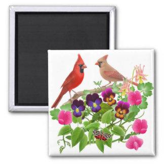 Kardinäle im Garten-Quadrat-Magneten Quadratischer Magnet