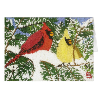 Kardinäle im Schnee Karte