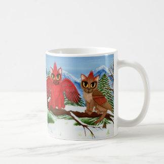 Kardinals-Katzen-Winter-rote Kaffeetasse