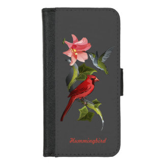Kardinals-und Kolibri-rosa Lilie personalisiert iPhone 8/7 Geldbeutel-Hülle
