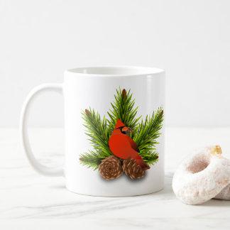 Kardinals-und Pinecones Weihnachtsfeiertags-Tasse Kaffeetasse