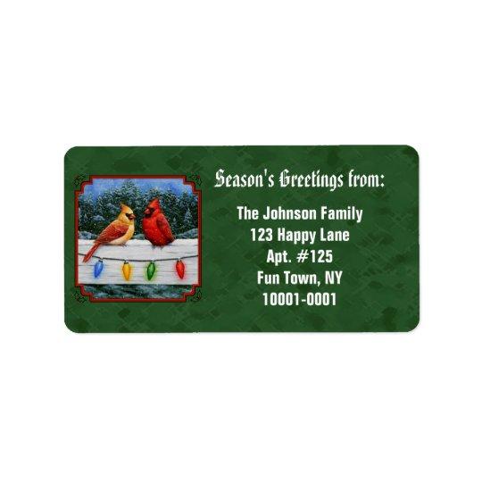 Kardinals-und Weihnachtslicht-Grün Adressetikett