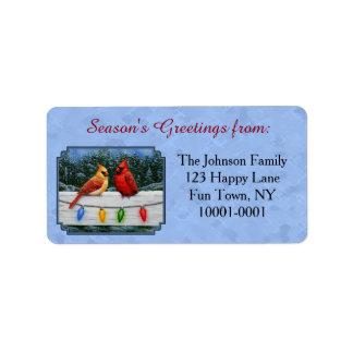 Kardinals-und Weihnachtslicht-Himmel-Blau Adressaufkleber