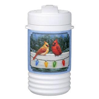 Kardinals-und Weihnachtslicht-Himmel-Blau Getränkekühler