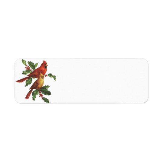 Kardinals-Vogel-Feiertags-Aufkleber Rücksendeetikett